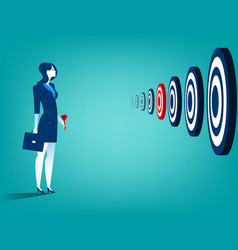 businesswoman and multiple targets vector image