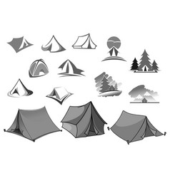 Camping icons of camp tent in forest vector