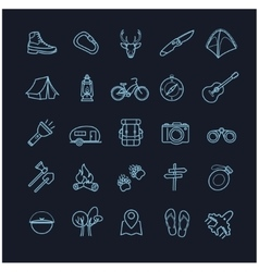 Camping icons set on a black background vector
