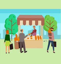 cart with bakery food in park shop bread vector image