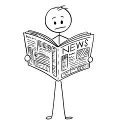 Cartoon of businessman reading bad news in vector