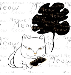 Cat reading smartphone vector