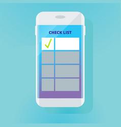 checklist in smartphone vector image