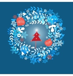 Christmas greeting card with snowflakes vector