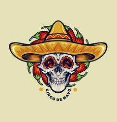 cinco de mayo mexican skull vector image