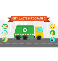 city waste recycling infographic flat concept vector image