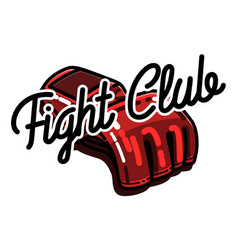 Color vintage fight club emblem vector