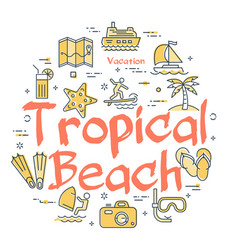 colorful icons in summer tropical beach theme vector image