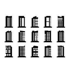 Company icons set black building collection on vector