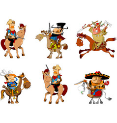 cowboys and bandits collection vector image