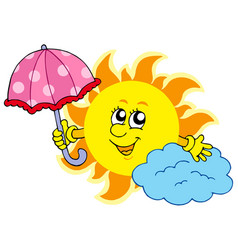 cute cartoon sun with umbrella vector image