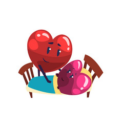 cute red and pink hearts characters lying in the vector image
