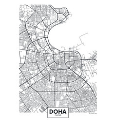 Detailed poster city map doha vector