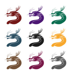 dragon icon in black style isolated on whit vector image