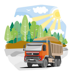 Drawing red dump truck sand vector