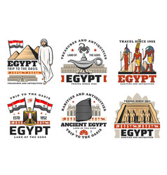 egyptian ancient pyramid gods travel landmark vector image