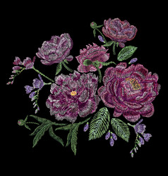 Embroidered composition with peonies wild and vector