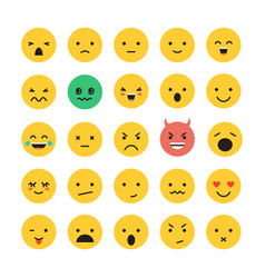 emoticon smile face icon set vector image