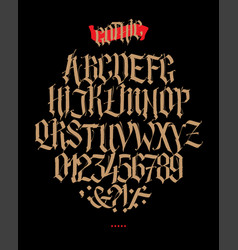 full alphabet in gothic style letters and vector image