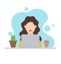 Girl working on laptop at home vector
