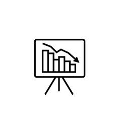 Graph table arrow decrease icon dollar money fall vector
