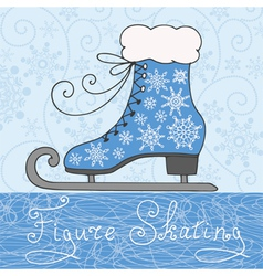 Greeting card figure skating vector image