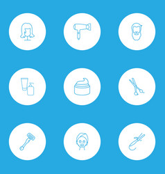 hairdresser icons line style set with face mask vector image