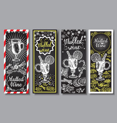 Hand drawn mulled wine banners set black vector