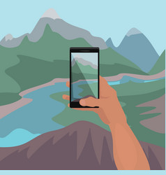 Hand making photo of landscape on smartphone vector