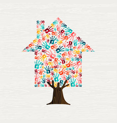 Hand tree house concept for community home vector