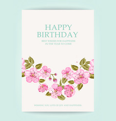 happy birthday text card vector image