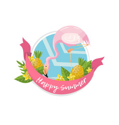 happy summer label design element with palm vector image