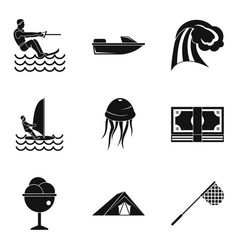 Hydrotherapeutic icons set simple style vector