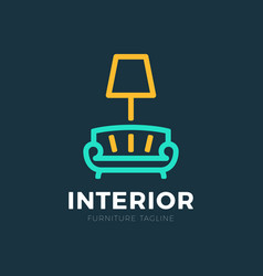 Interior sofa and lamp furniture business sign vector