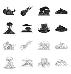 Isolated object of natural and disaster icon vector