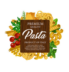 Italian pasta tomato and green herbs label vector