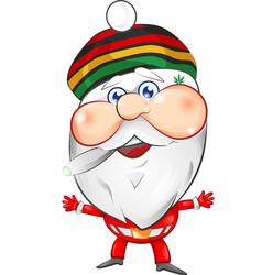 jamaican santa claus mascot cartoon vector image