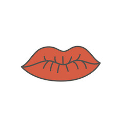 Juicy red lips silhouette vector