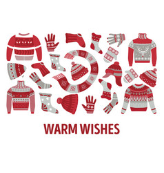 Knitwear winter knitted clothes and accessories vector