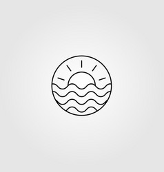 Line art wave ocean and sun logo minimalist vector