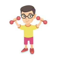 little smiling caucasian boy holding dumbbells vector image