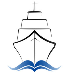 logo passenger ocean liner gray and blue color vector image