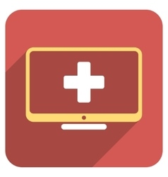 Medical Monitor Flat Rounded Square Icon with Long vector image
