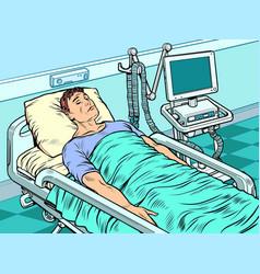 Medical ventilator machine heavy patient in vector