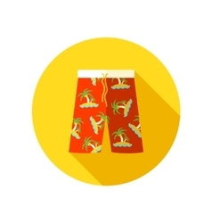 Men Beach Shortsl flat icon with long shadow vector