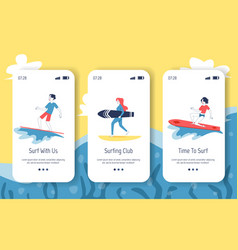 mobile onboard screens with surfers and surfing vector image