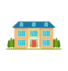 modern cottage house front view isolated vector image
