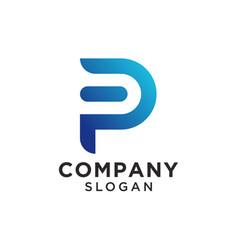 Monogram initial letter p logo design vector