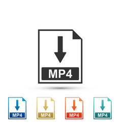 Mp4 file document icon download mp4 button icon vector