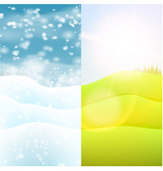 Nature seasonal landscape hills with grass and vector